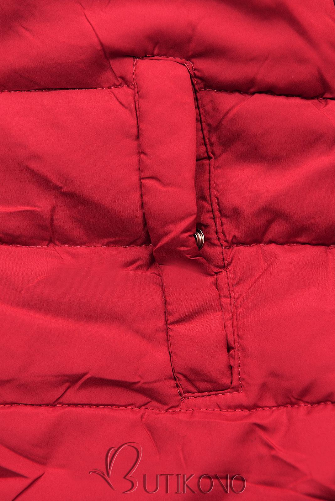 Zimná parka obojstranná tmavomodrá/červená