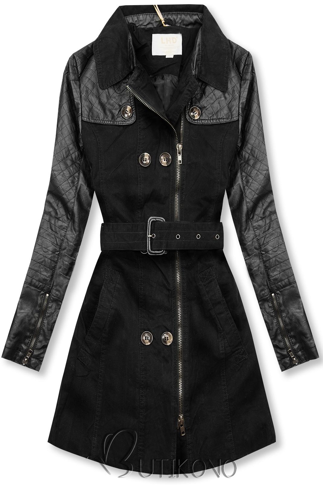 Čierny kabát/trenčkot M206