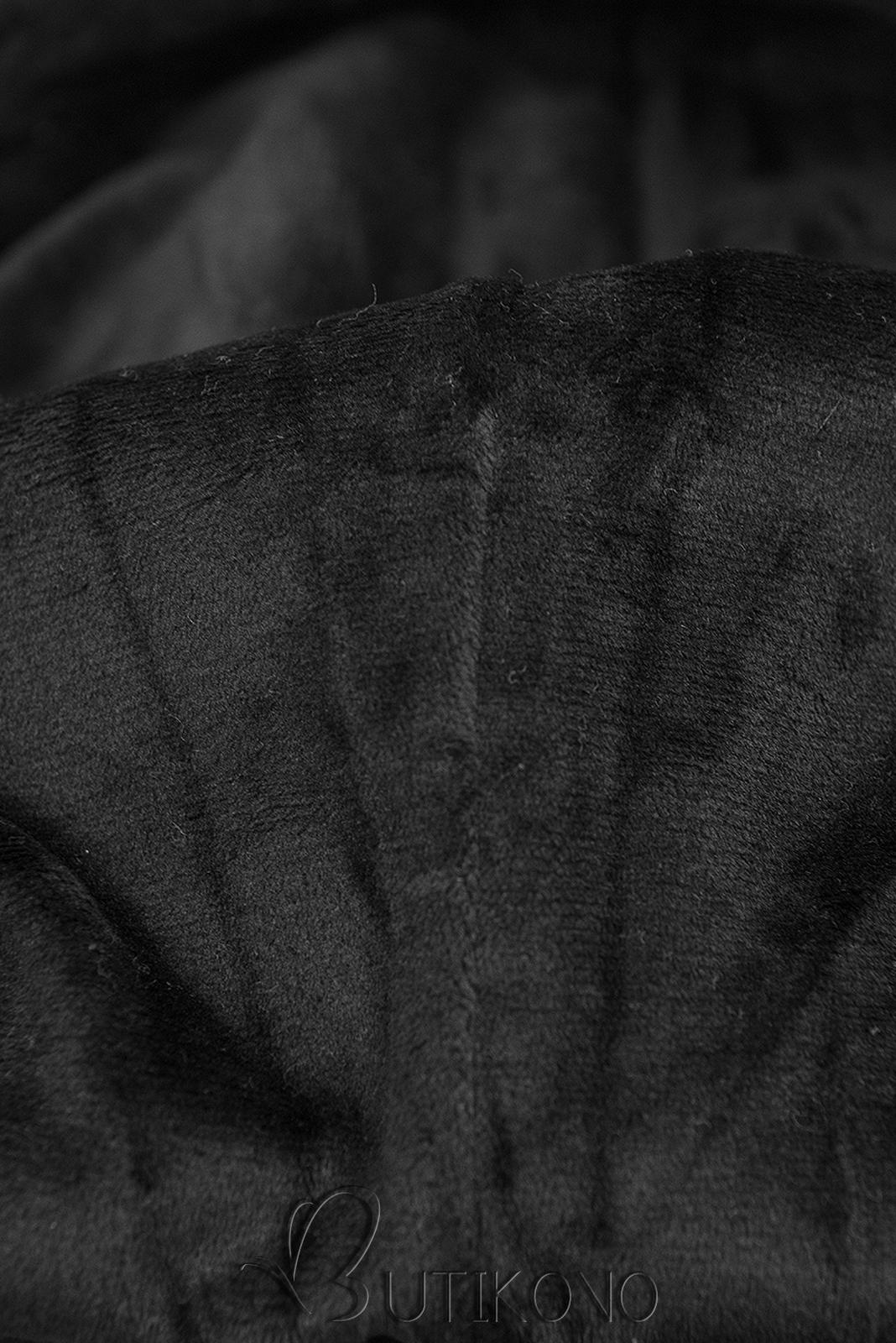 Čierna mikina so zamatovou kapucňou