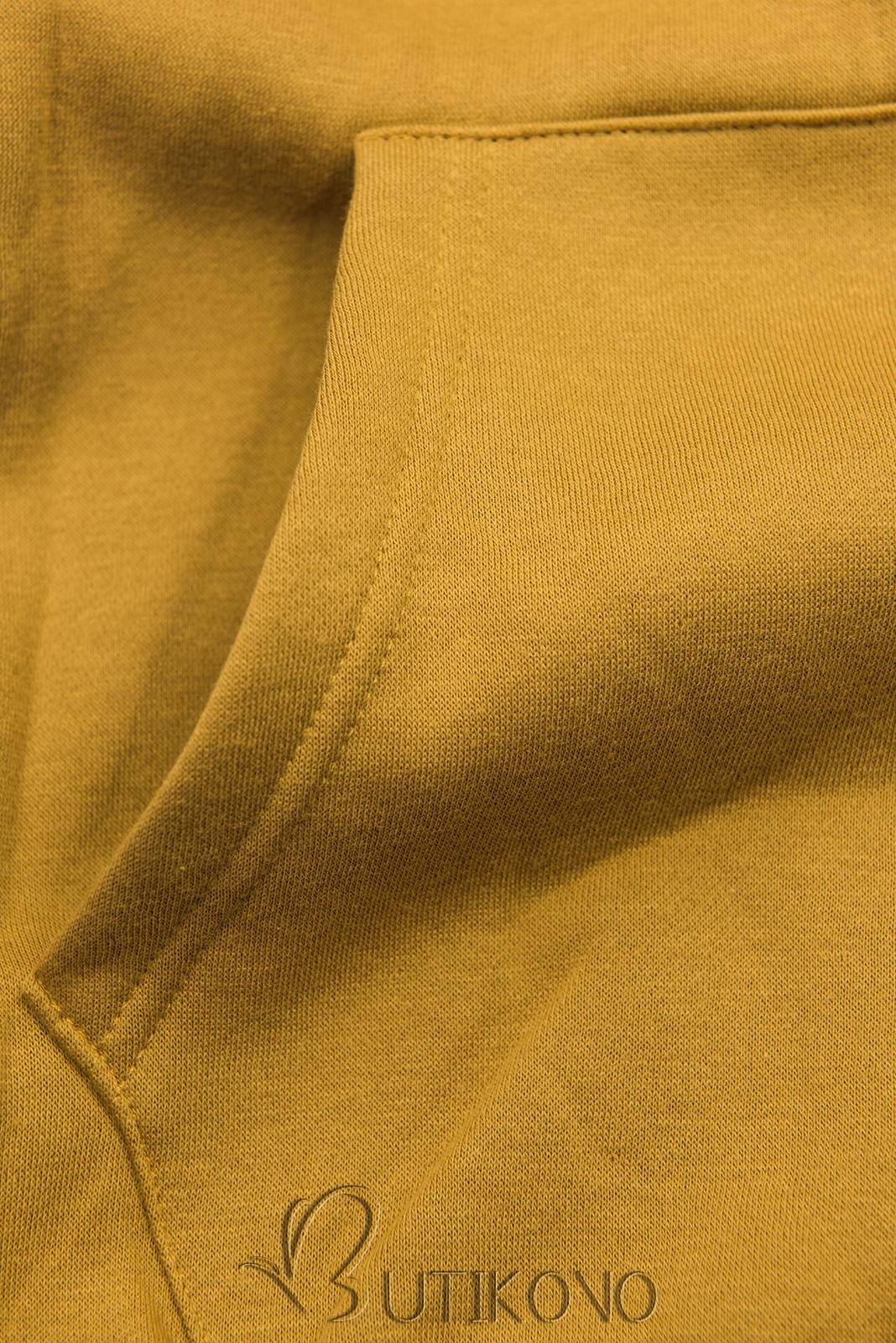 Mustard mikina so zamatovou kapucňou