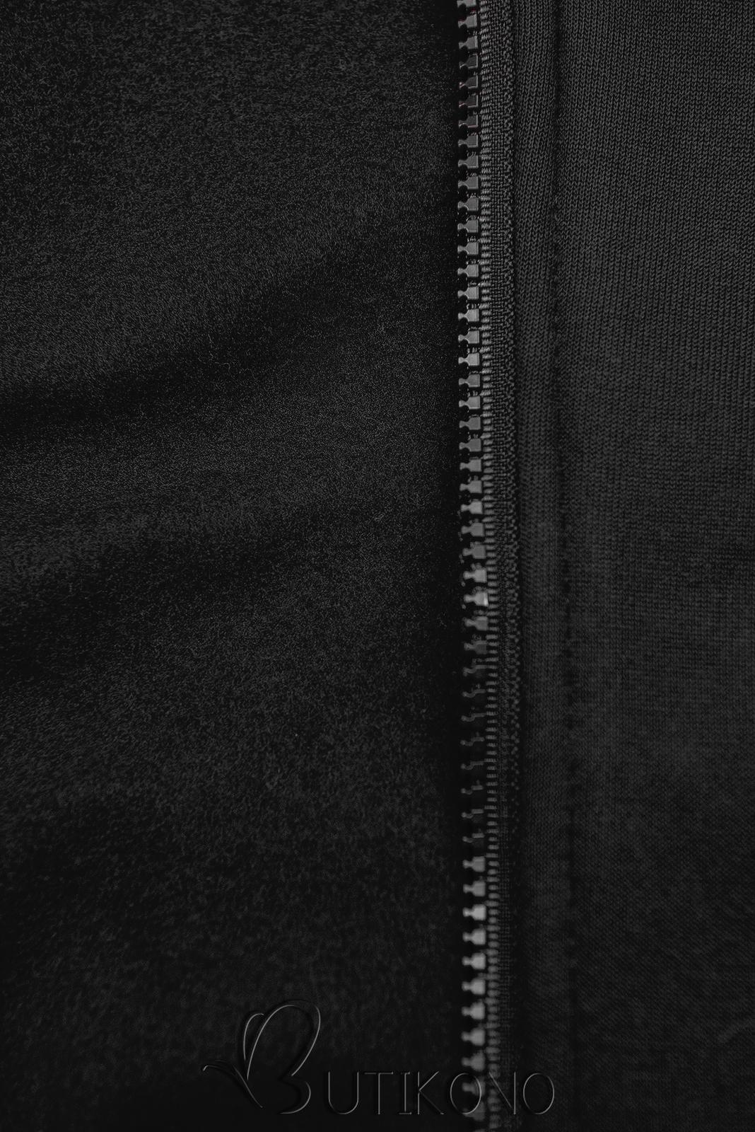 Čierna predĺžená mikina s farebnou podšívkou