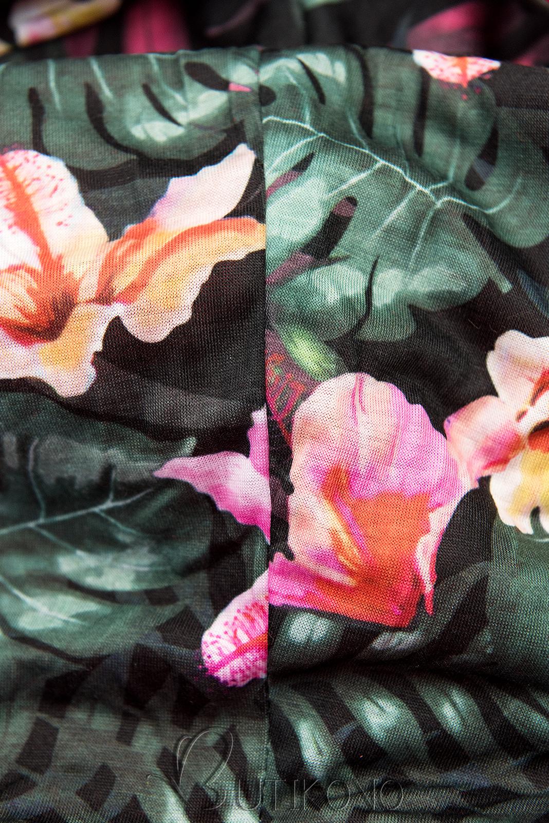 Khaki predĺžená mikina s farebnou podšívkou