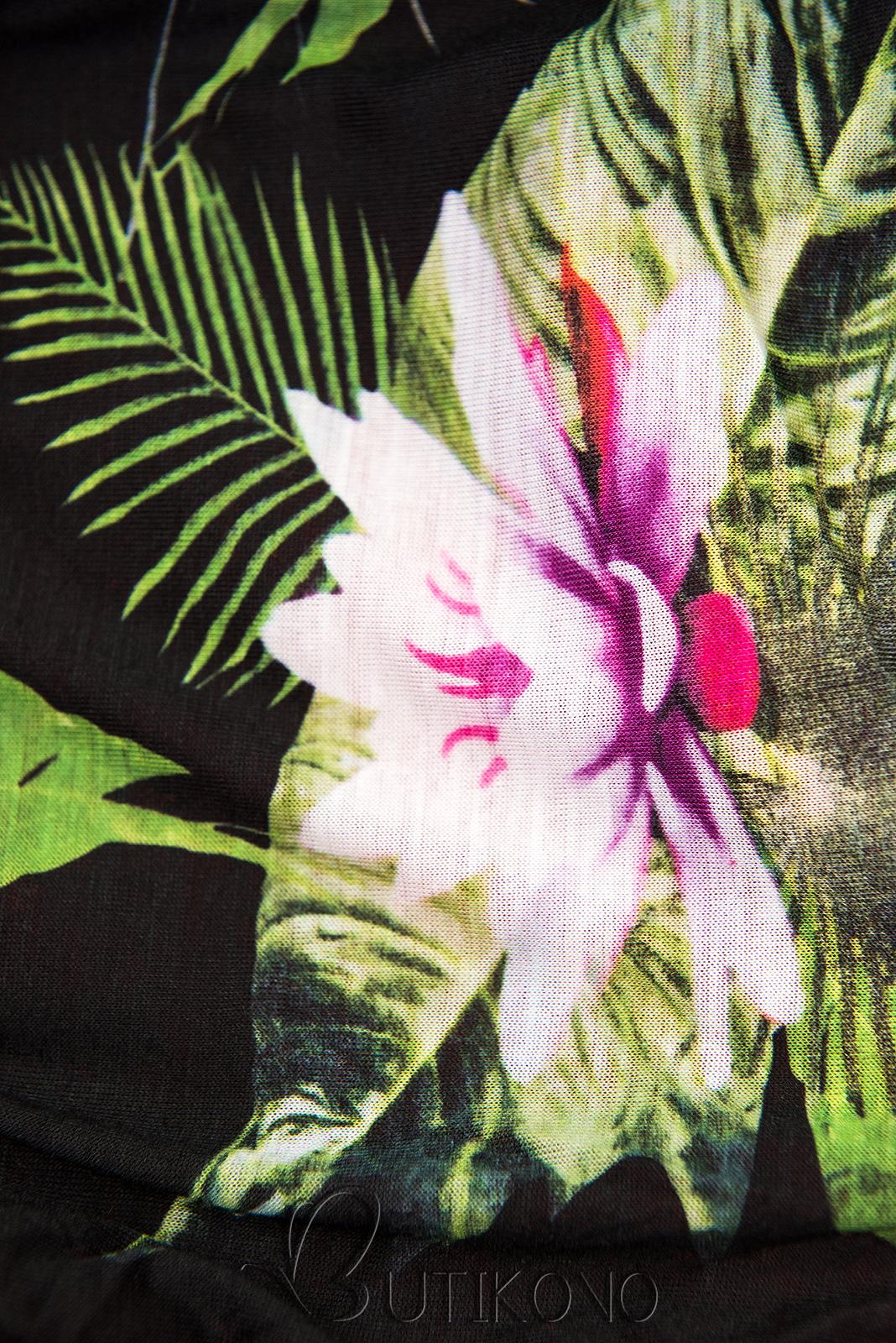 Grafitová mikina v asymetrickom strihu s kvetinovou podšívkou