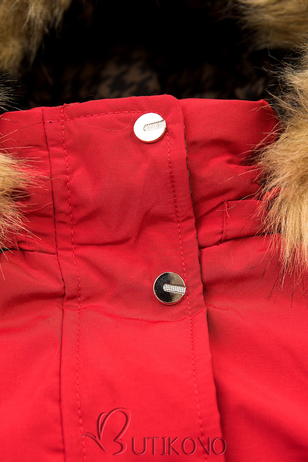 Červená obojstranná parka na zimu