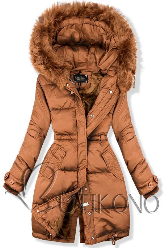 Hnedá prešívaná bunda v predĺženom strihu
