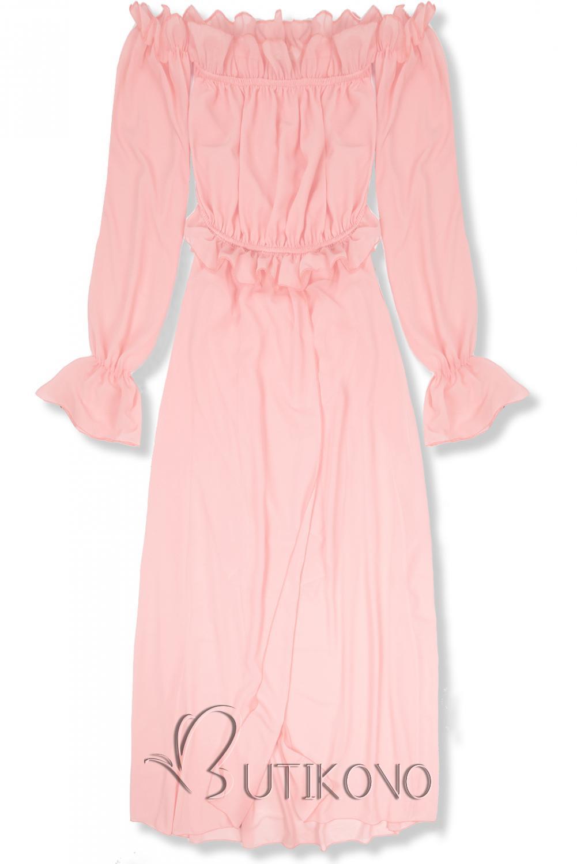 Púdrovo ružové letné dlhé šaty