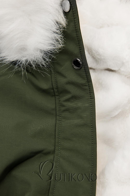 Khaki zimná parka s bielym plyšom