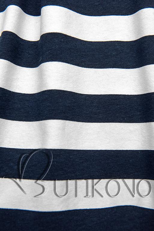 Modro-biele voľné pruhované šaty I.