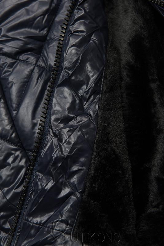 Tmavomodrá lesklá zimná bunda s opaskom