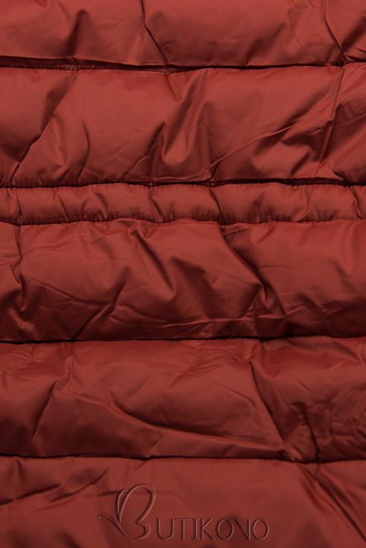 Tehlovočervená/hnedá obojstranná zimná parka