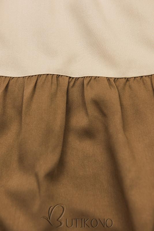 Letné šaty z viskózy biela/béžová/hnedá