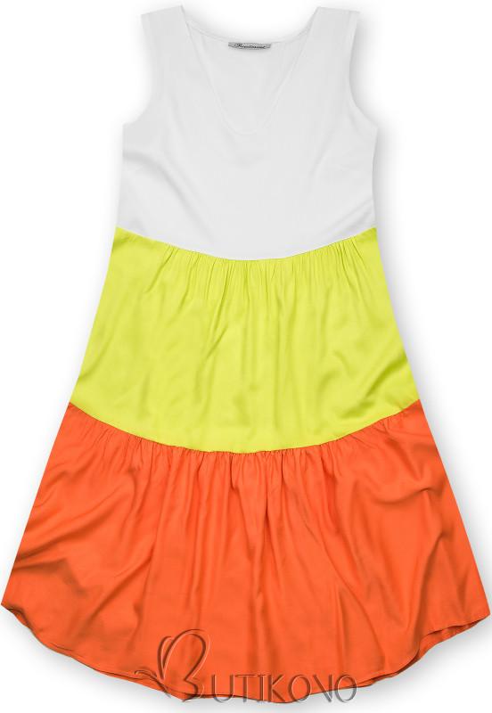 Letné šaty z viskózy biela/hrášková/oranžová
