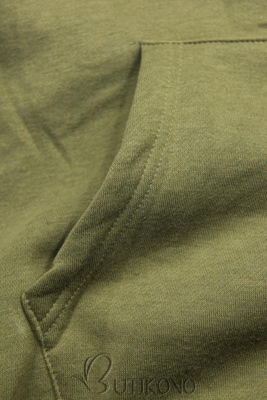 Khaki mikina so zamatovou kapucňou