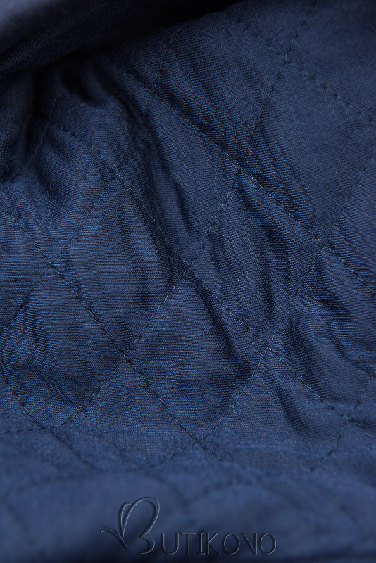 Tmavomodrá predĺžená mikina s prešívanou kapucňou