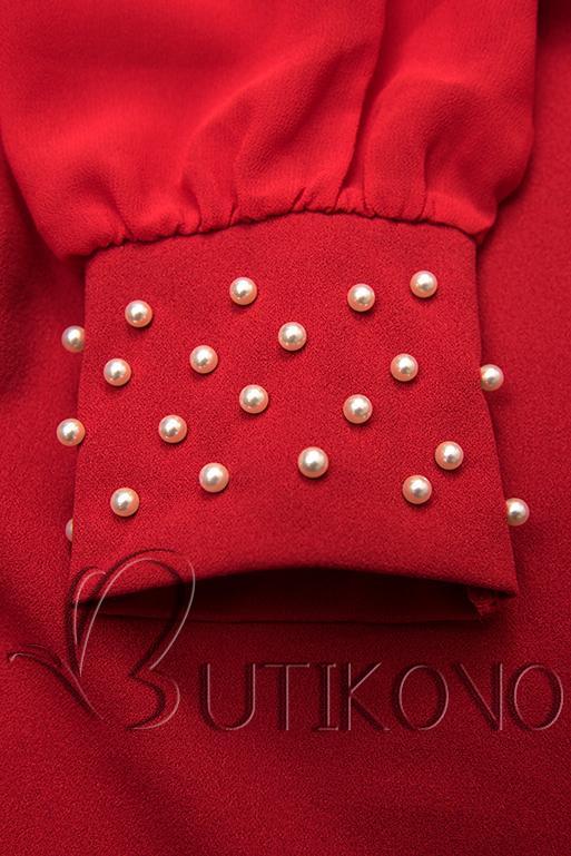 Červené elegantné šaty v A-strihu