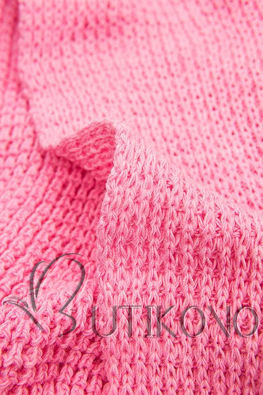 Ružový asymetrický pletený kardigán
