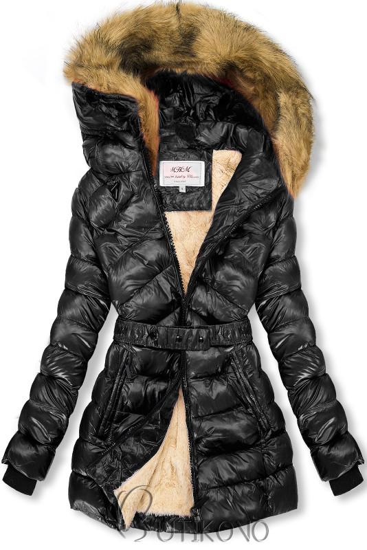 Čierna/béžová lesklá bunda s opaskom