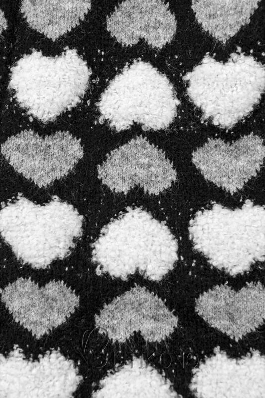 Čierny sveter so srdiečkami