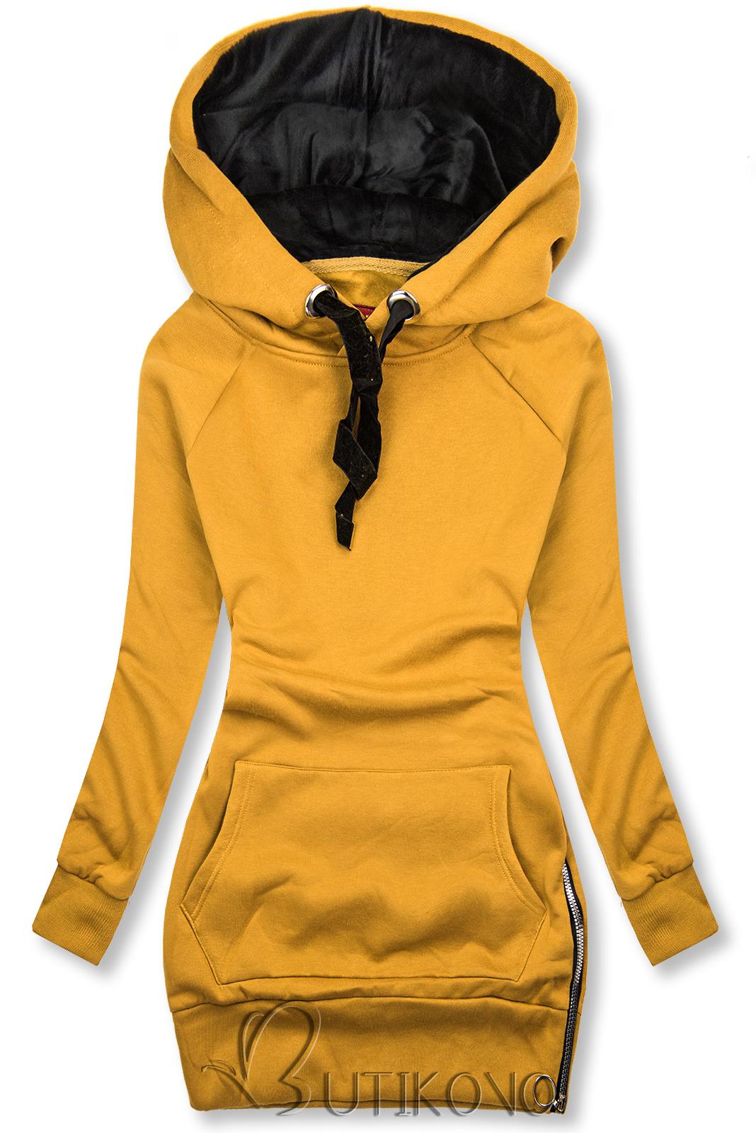 Žltá mikina so zamatovou kapucňou