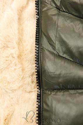 Khaki/béžová lesklá bunda s opaskom