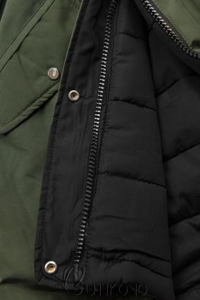 Zimná parka obojstranná khaki/čierna