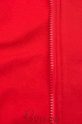 Červená predĺžená mikina s farebnou podšívkou