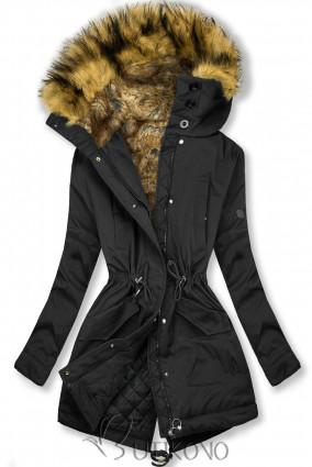 Čierna zimná bunda s vysokým golierom a kožušinou