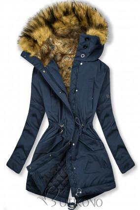 Tmavomodrá zimná bunda s vysokým golierom a kožušinou