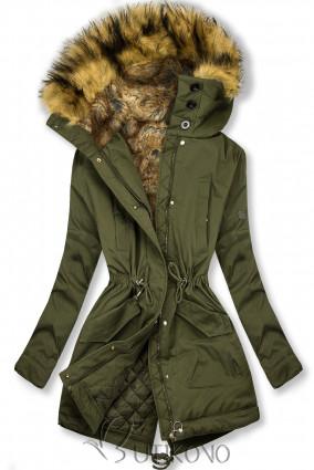 Olivovozelená zimná bunda s vysokým golierom a kožušinou