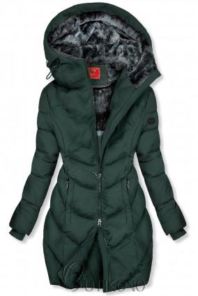 Tmavozelená zimná bunda v predĺženom strihu