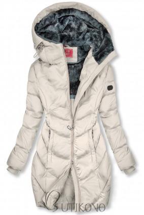 Krémovo biela zimná bunda v predĺženom strihu