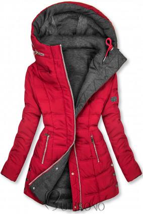Vínovočervená/sivá obojstranná bunda v športovom štýle