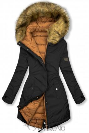 Čierna/karamelová obojstranná zimná bunda
