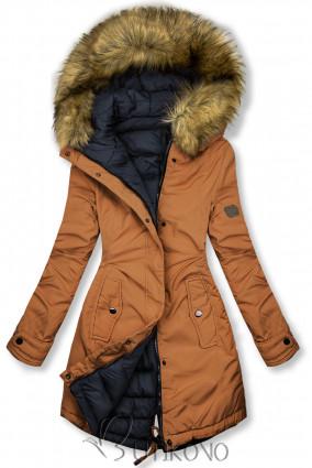 Hnedá/modrá obojstranná zimná bunda
