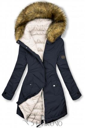 Tmavomodrá/smotanová obojstranná zimná bunda