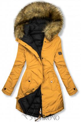 Žltá/čierna obojstranná zimná bunda