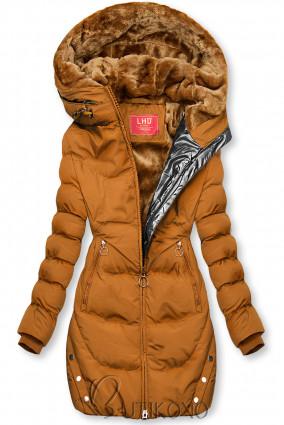 Karamelová zimná bunda so strieborným lemom