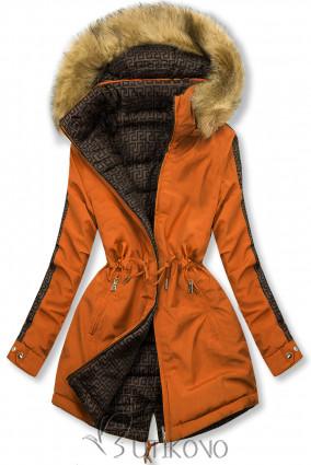 Tehlovoranžová prešívaná obojstranná bunda