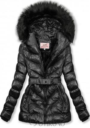 Čierna zimná krátka bunda s čiernou kožušinou