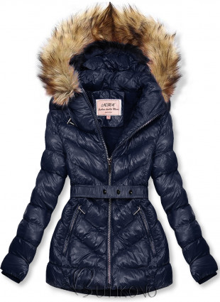Tmavomodrá zimná krátka bunda s hnedou kožušinou