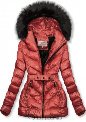 Tehlovohnedá zimná krátka bunda s čiernou kožušinou