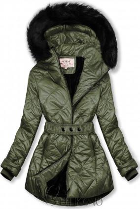 Khaki lesklá zimná bunda s opaskom