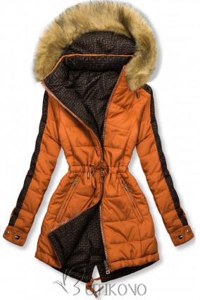 Tmavá oranžová/hnedá obojstranná zimná parka