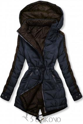 Tmavomodrá/hnedá obojstranná bunda s výplňou
