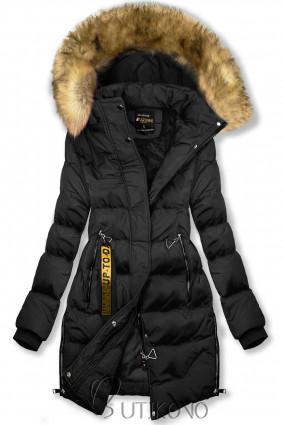 Čierna predĺžená zimná bunda