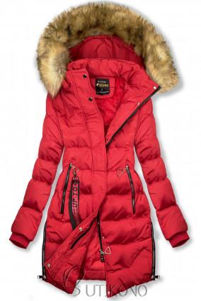 Červená predĺžená zimná bunda