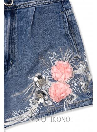 Denimové šortky s kvetinovou nášivkou
