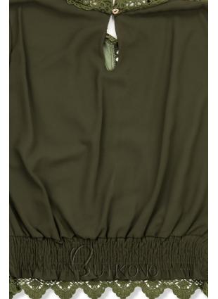 Khaki blúzka s čipkou