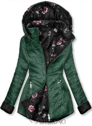 Zelená obojstranná bunda s kvetinovým futrom