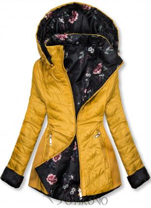 Žltá obojstranná bunda s kvetinovým futrom